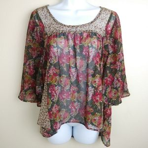 Staring at Stars Floral Boho Top Women's Size S